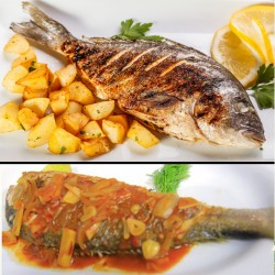 Alrahma Fish  _  ( Meagre )  - Fried - grilled - tray - Sinjari - oil and lemon