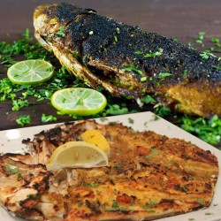 Alrahma Fish  _  ( mullet )  - Grilled _ oil and lemon _ Sinjary