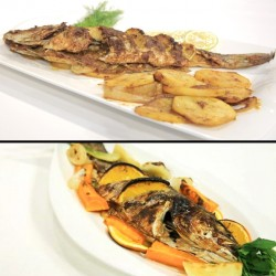 EL Menshawy Fishes  _  ( sea bass )  - Fried - grilled - tray - Sinjari