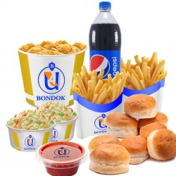 Bondok - small family-12 pieces +  Family potatoes+ 8 bun + ketchup + 2 cloeslo + liter Pepsi