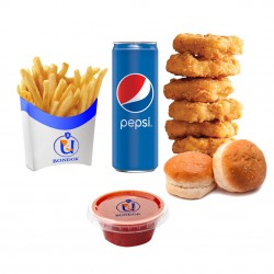 Bondok - Meal Chicken Nuggets - 6 pieces  + potato +  buns + Pepsi