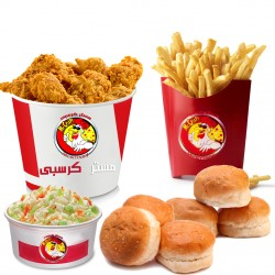 Mr. Crispy _ Family meal 12 pieces - 12 chicken pieces + family size fries + 2 coleslaw + 8 bread + liter Pepsi