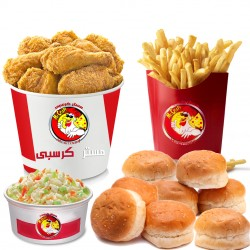 Mr. Crispy _ Family meal 16 pieces - 16 chicken pieces + family size french fries + 2 coleslaw + 10 bread + liter Pepsi