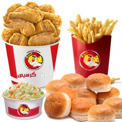 Mr. Crispy _ family meal 20 pieces -20 chicken pieces + family size fries + 3 coleslaw + 12 bread + liter Pepsi